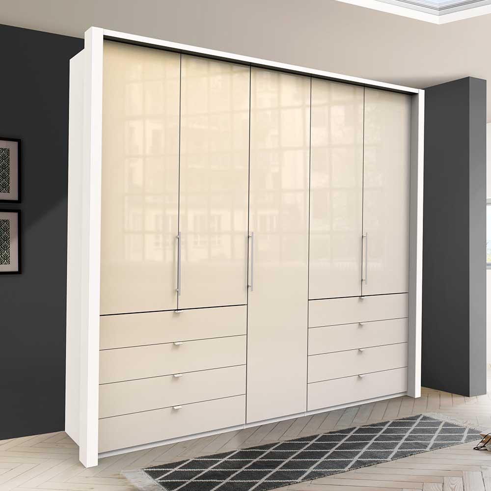 Falttüren Kleiderschrank in Creme Weiß Glas beschichtet zwölf Schubladen