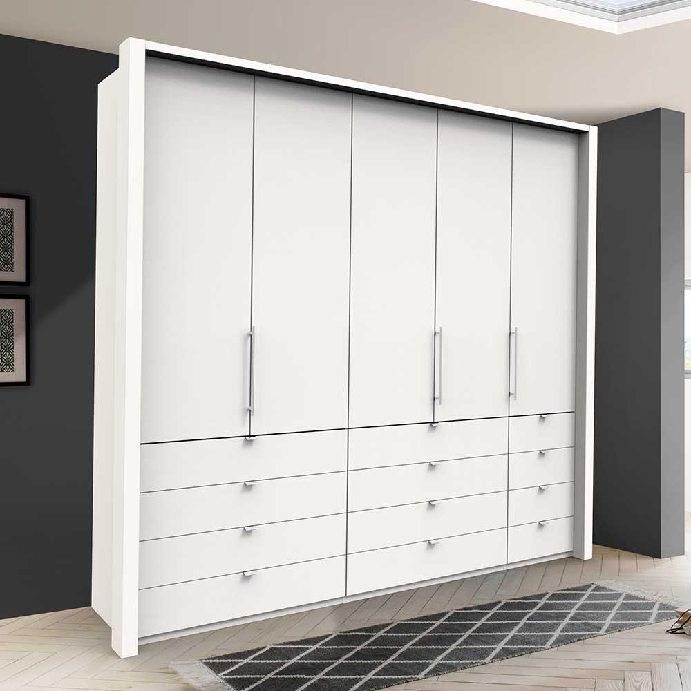 Kleiderschrank in Weiß Falttüren und vielen Schubladen