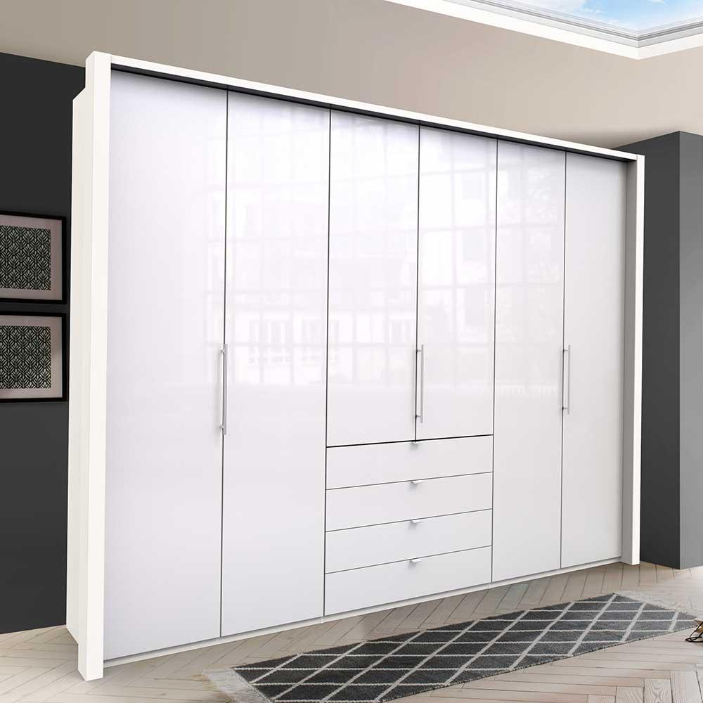 Großer Kleiderschrank in Weiß Glas beschichtet Falttüren und Schubladen