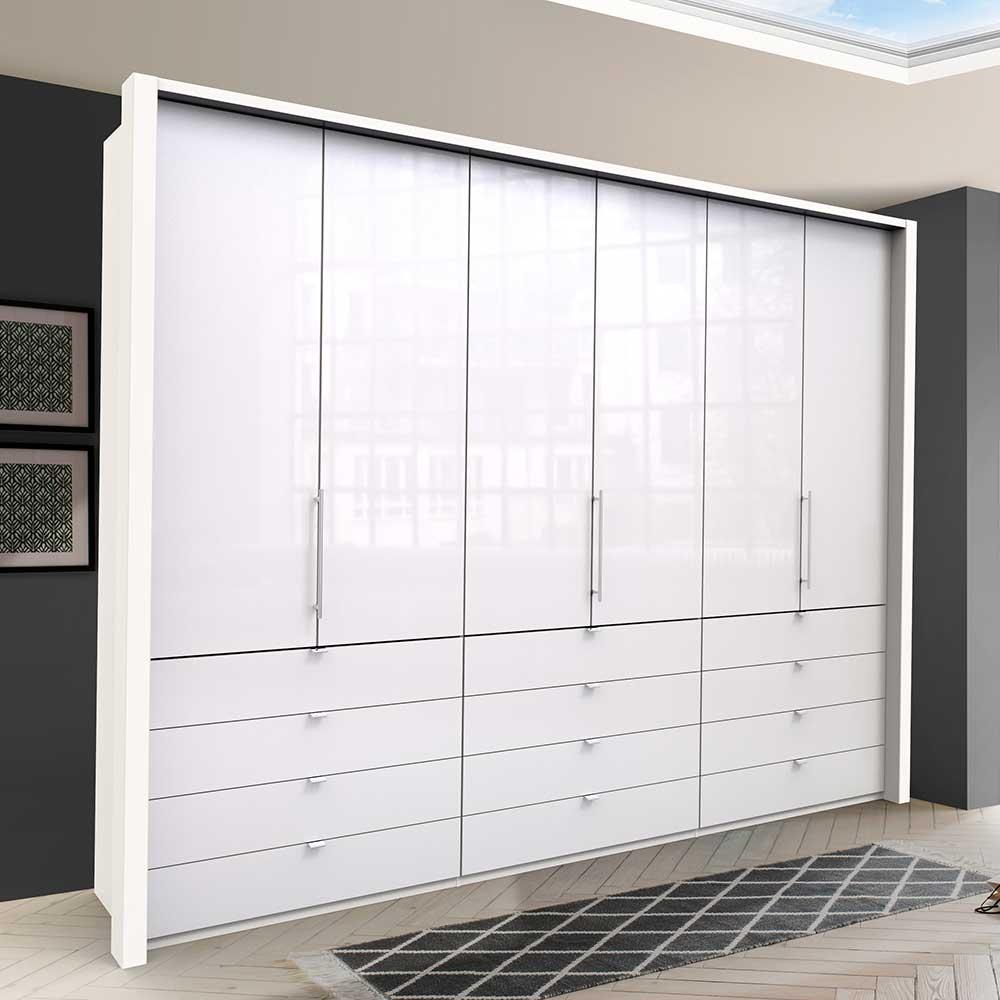 Riesiger Kleiderschrank in Weiß Glas beschichtet Falttüren und Schubladen