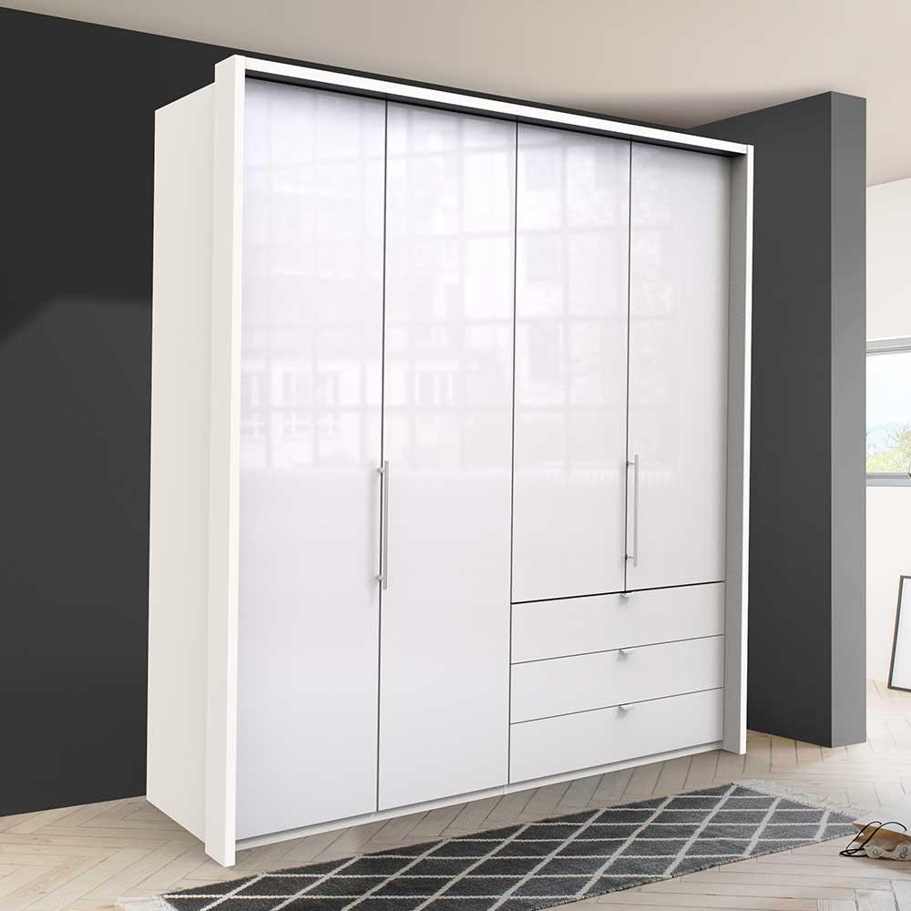 Falttüren Kleiderschrank in Weiß glasbeschichtet 2 türig