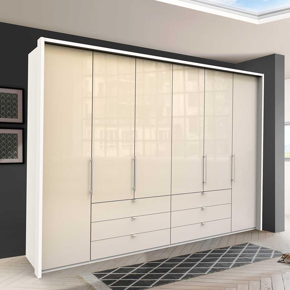 Kleiderschrank in Cremefarben und Weiß Falttüren