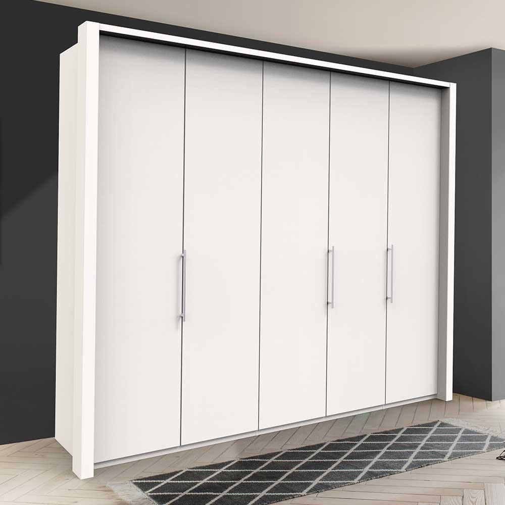 Weißer Kleiderschrank mit 3 Falttüren modern