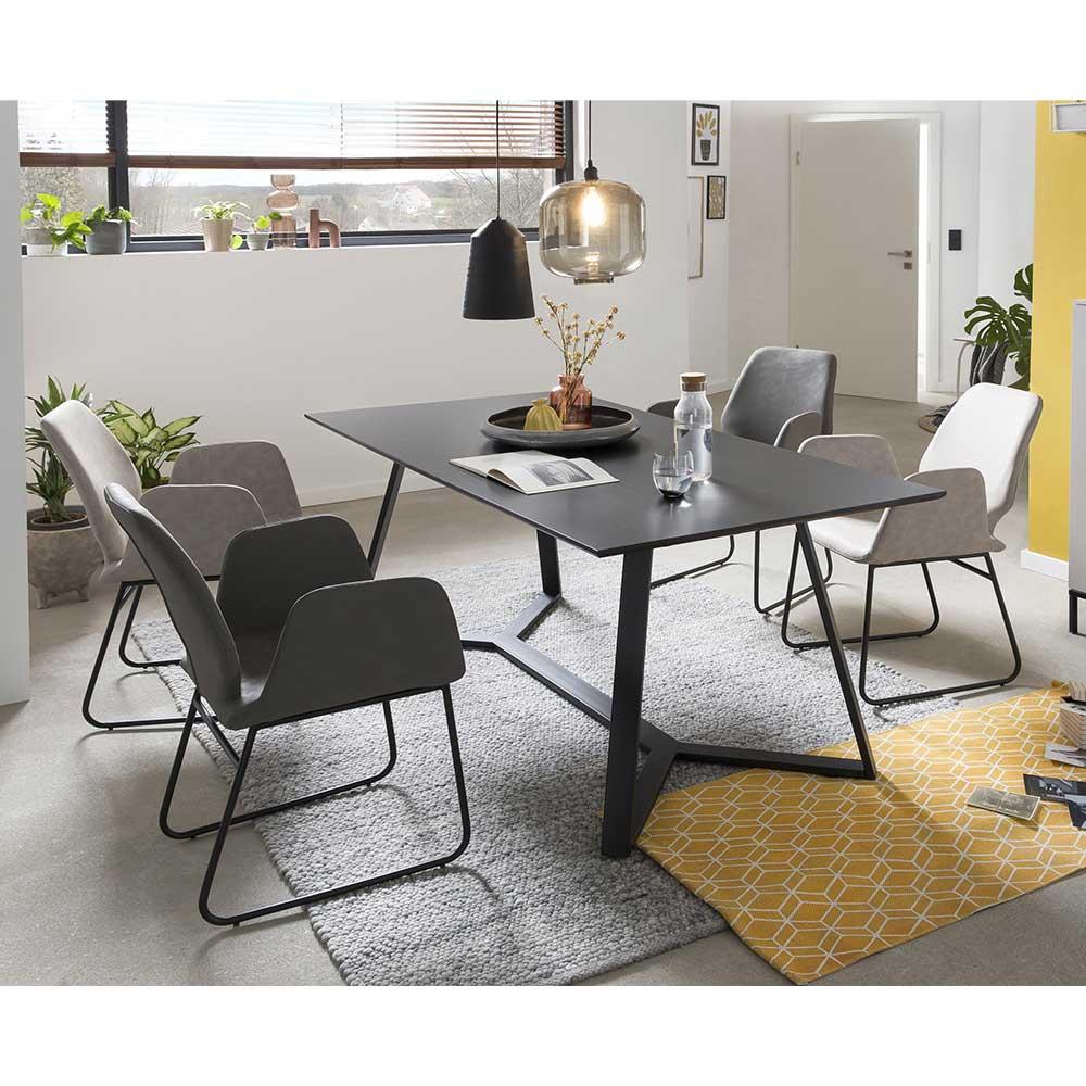 Esszimmer Sitzgruppe in Grau 180 cm Esstisch (fünfteilig)
