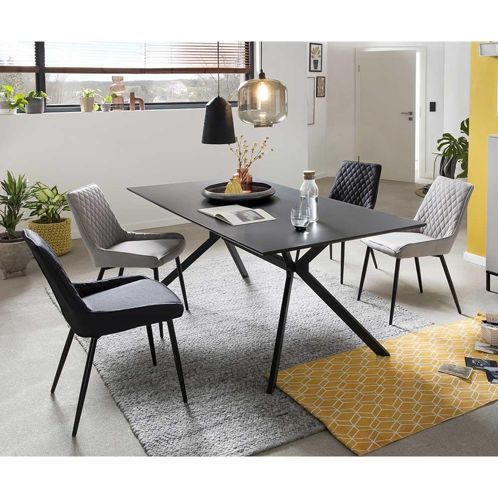 Esszimmer Sitzgruppe in Hellgrau und Schwarz 180 cm Esstisch (fünfteilig)