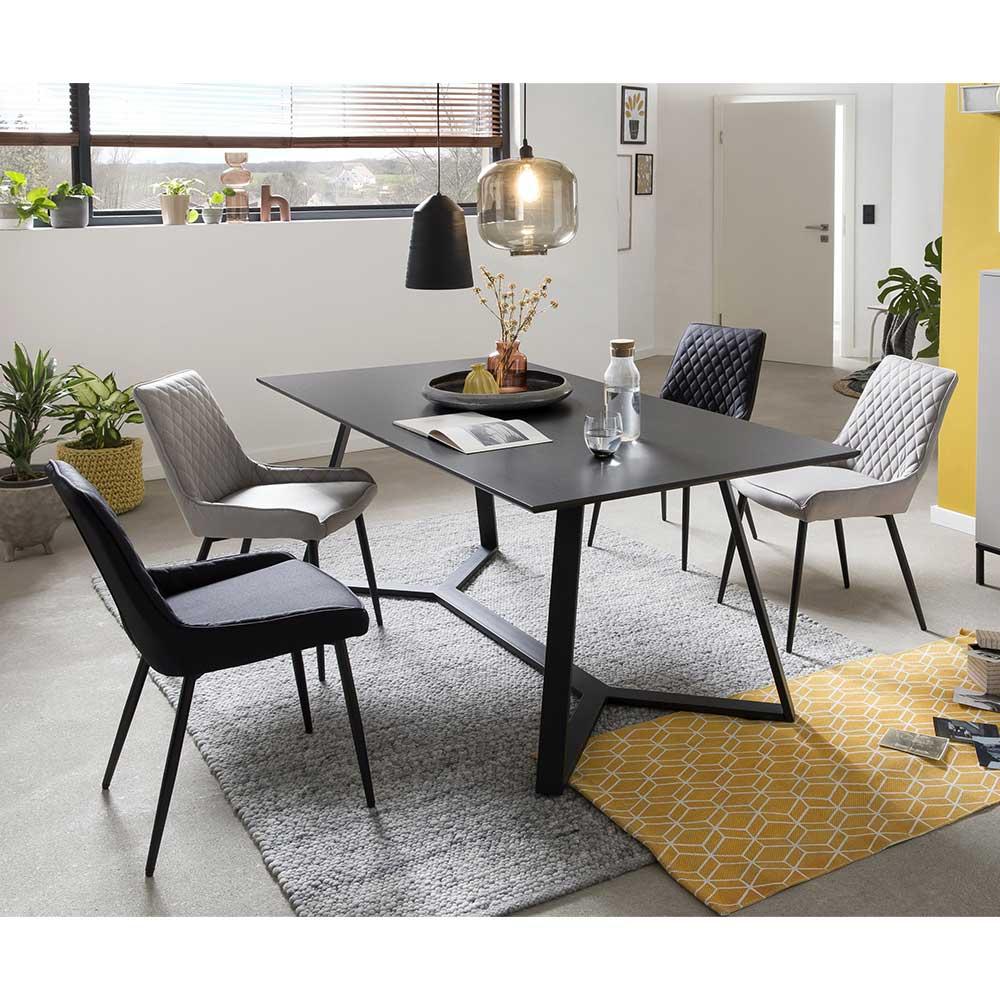 Esszimmer Sitzgruppe in Grau und Schwarz 180 cm Esstisch (fünfteilig)