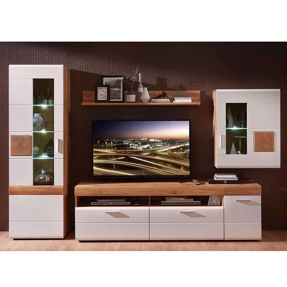 Design Wohnwand in Weiß und Eiche Optik 295 cm breit (vierteilig)