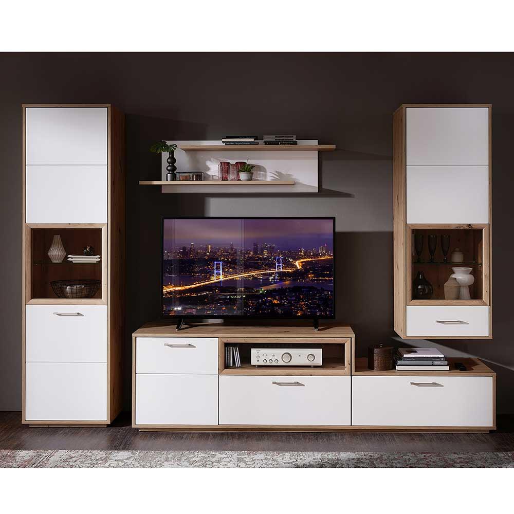 Design Wohnwand in Weiß und Wildeichefarben 275 cm breit (vierteilig)