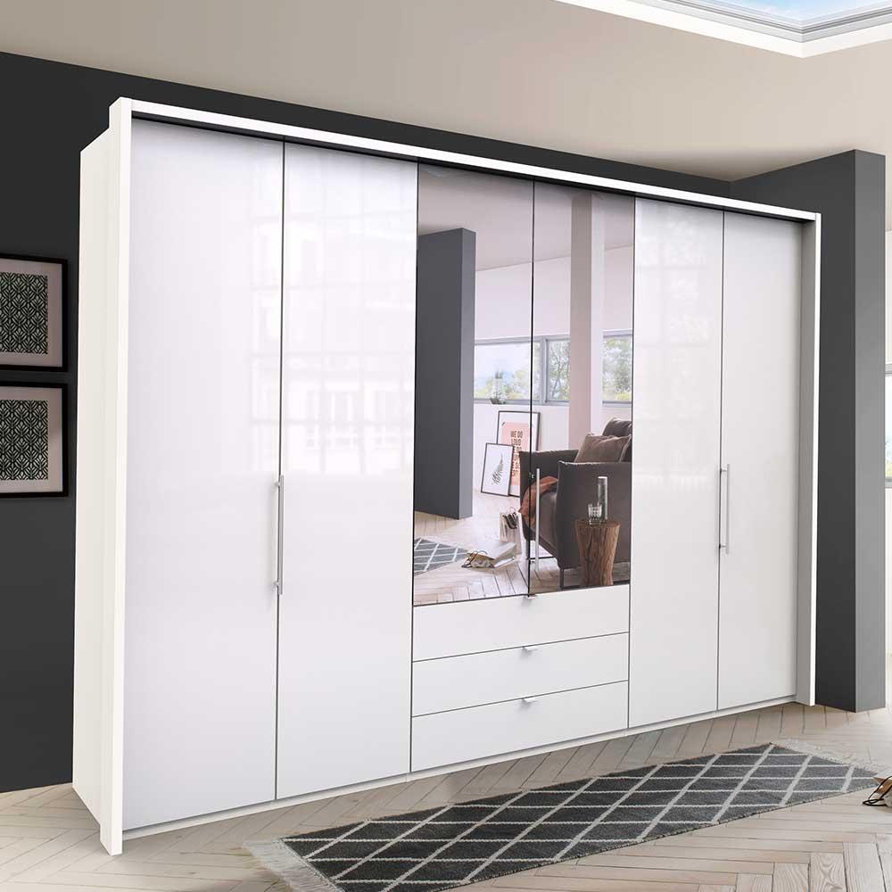 Falttüren Kleiderschrank mit Spiegel Weiß