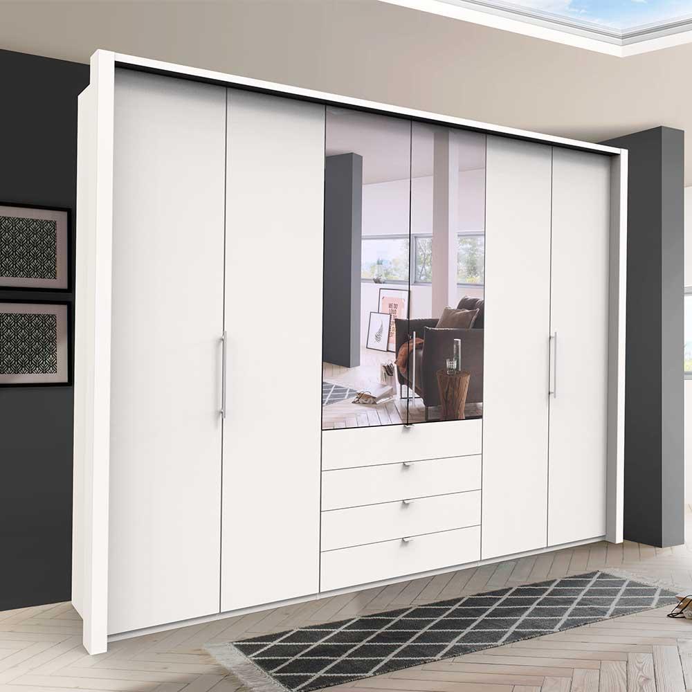 XL Kleiderschrank mit Falttüren und Spiegel Weiß