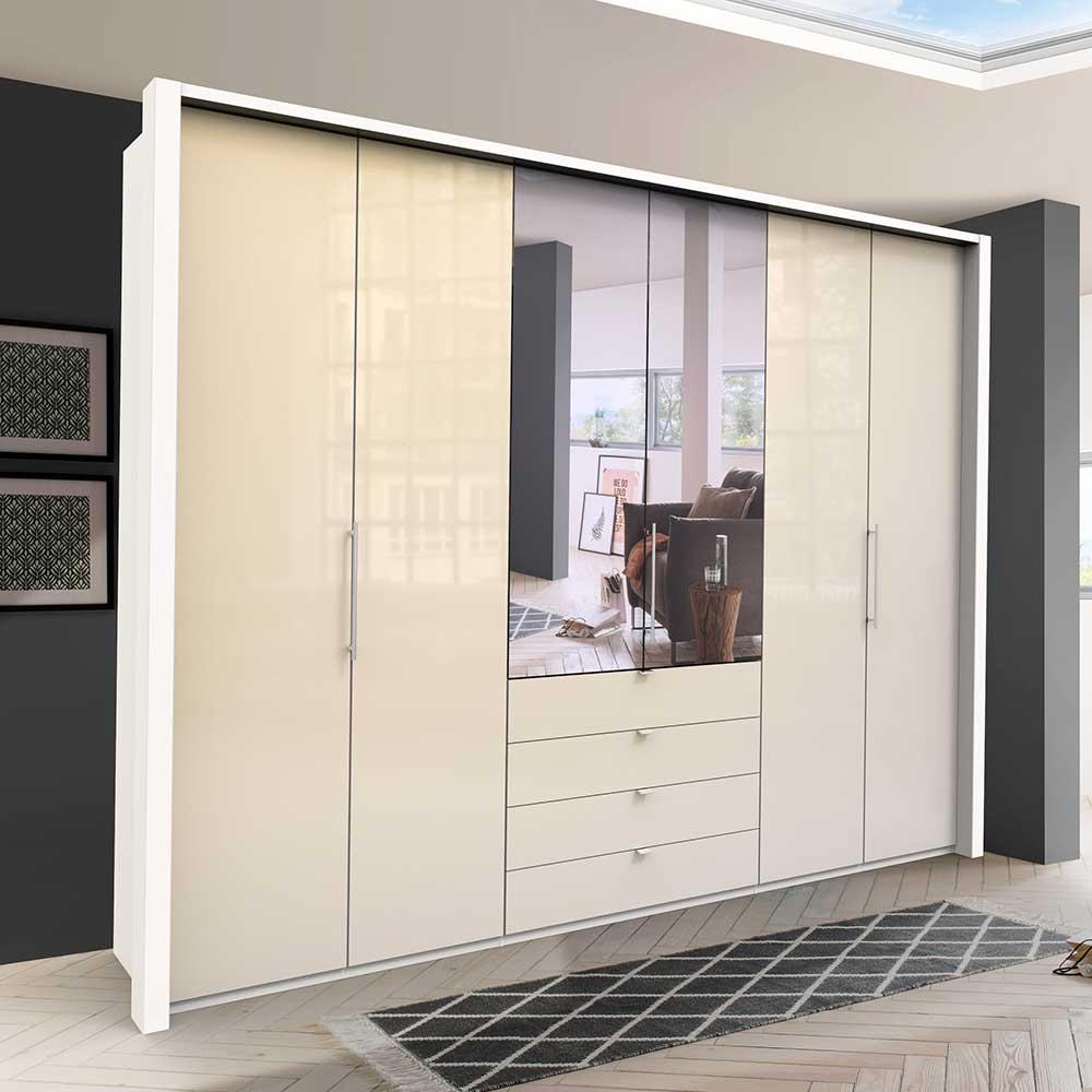Cremefarbener Kleiderschrank mit Spiegel Falttüren und Schubladen