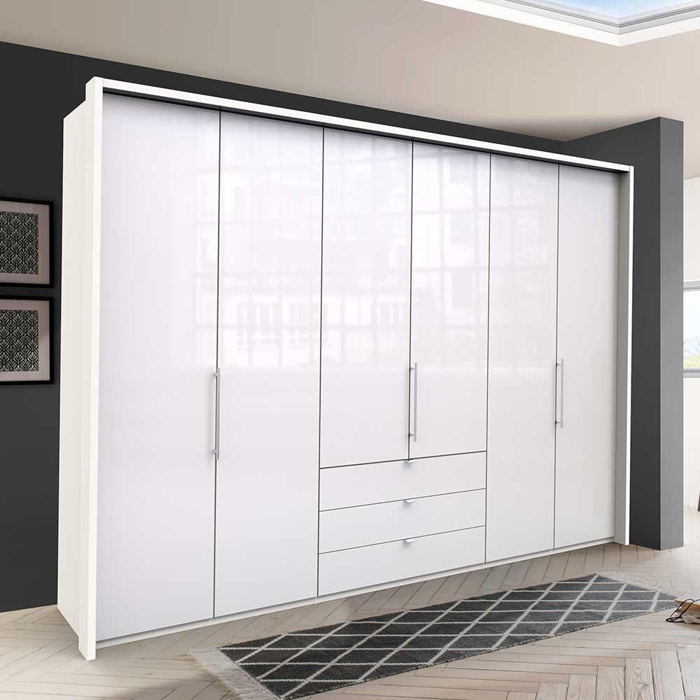 Panorama Kleiderschrank in Weiß glasbeschichtet