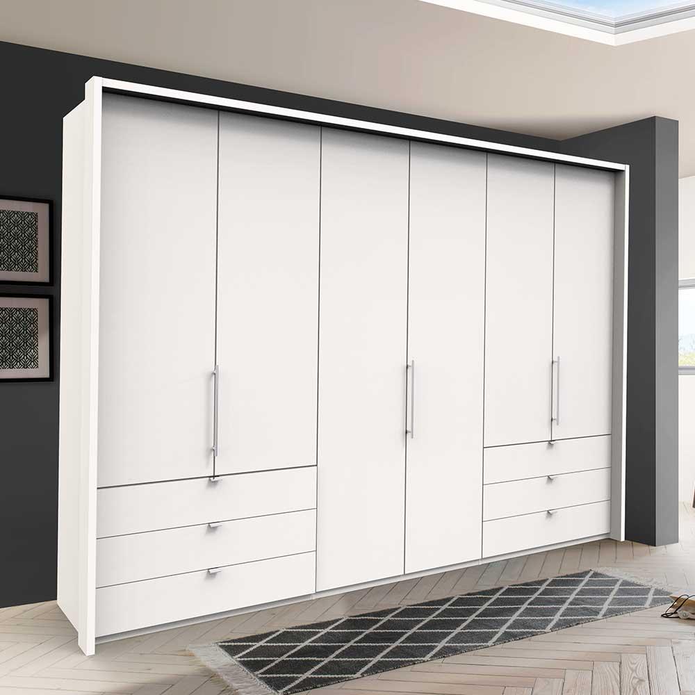 Weißer Kleiderschrank mit Falttüren sechs Schubladen