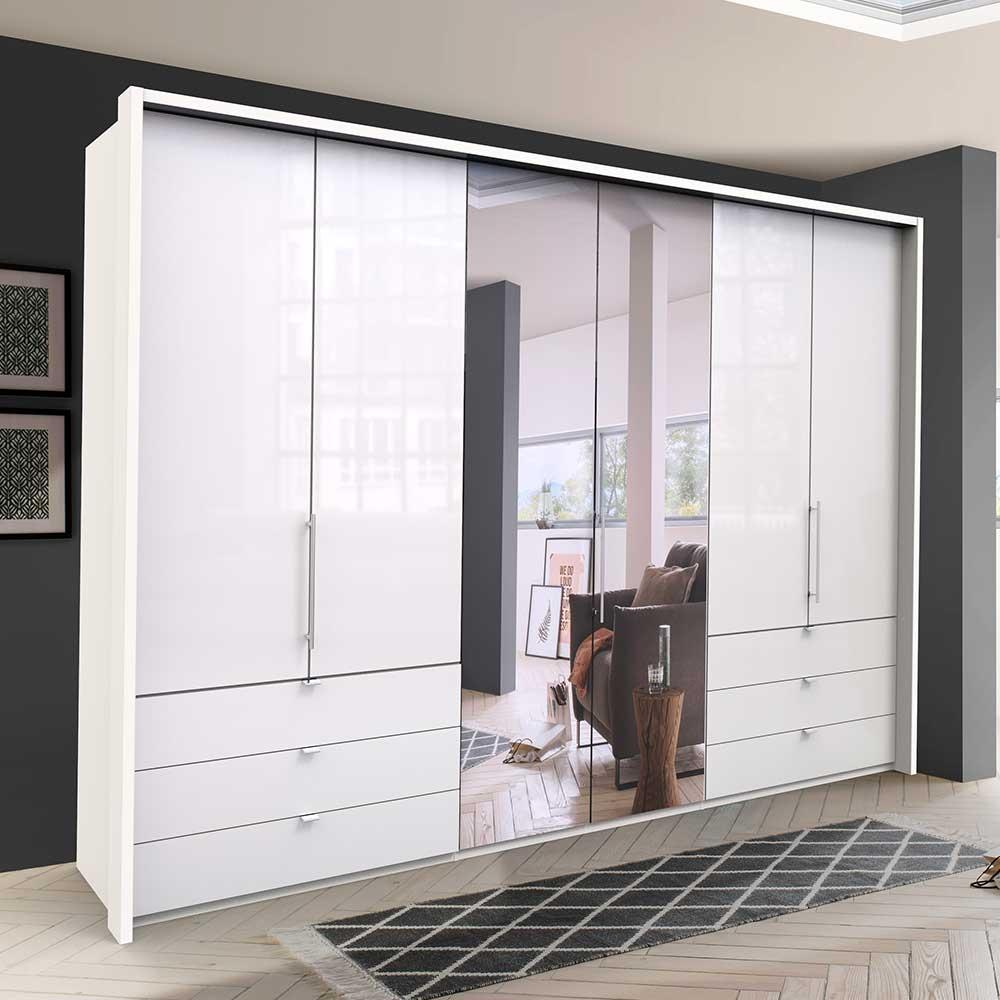 Panorama Kleiderschrank mit Falttüren und Schubladen Weiß