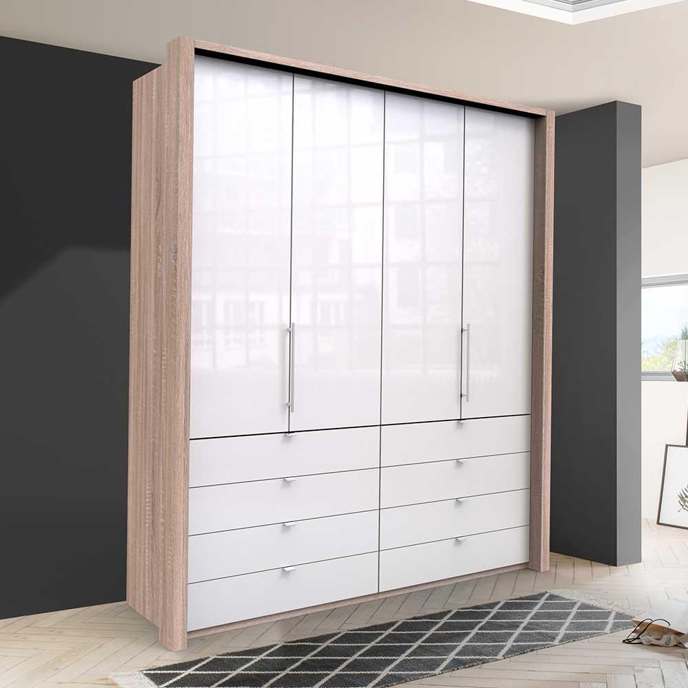 Gleittüren Kleiderschrank mit acht Schubladen Weiß Eiche Sägerau