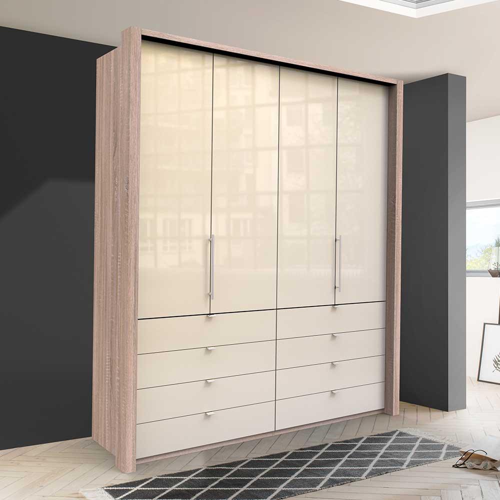 Kompakter Kleiderschrank mit Falttüren und Schubladen modern