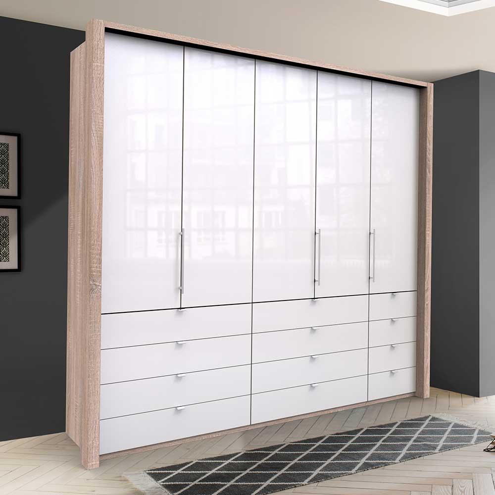 Kombi Kleiderschrank mit vielen Schubladen und Türen modern
