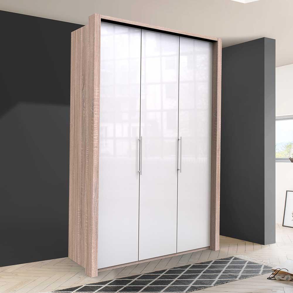 Zweifarbiger Kleiderschrank mit Türen Weiß und Eiche Sägerau