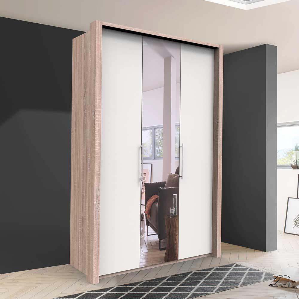 2 türiger Spiegel Kleiderschrank in Weiß Eiche und Sägerau foliert