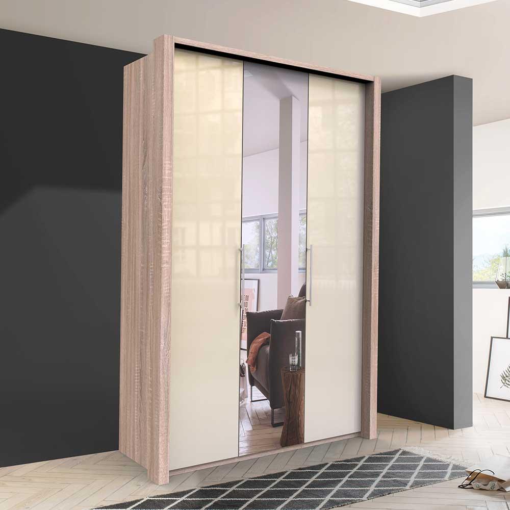 Kleiderschrank Jugendzimmer mit Falttüren und Spiegel Cremefarben Eiche Sägerau