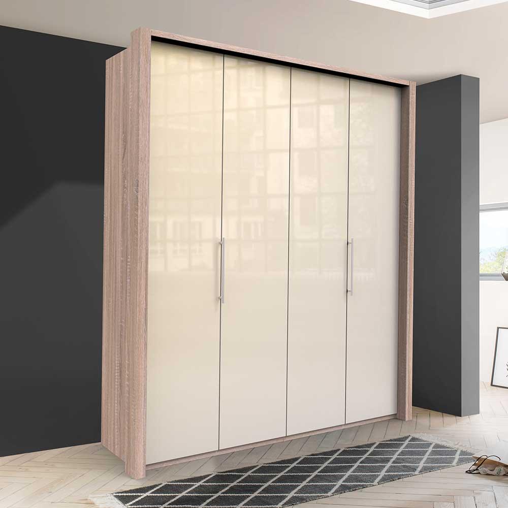 Glasbeschichteter Kleiderschrank mit Falttüren Cremefarben Eiche Sägerau