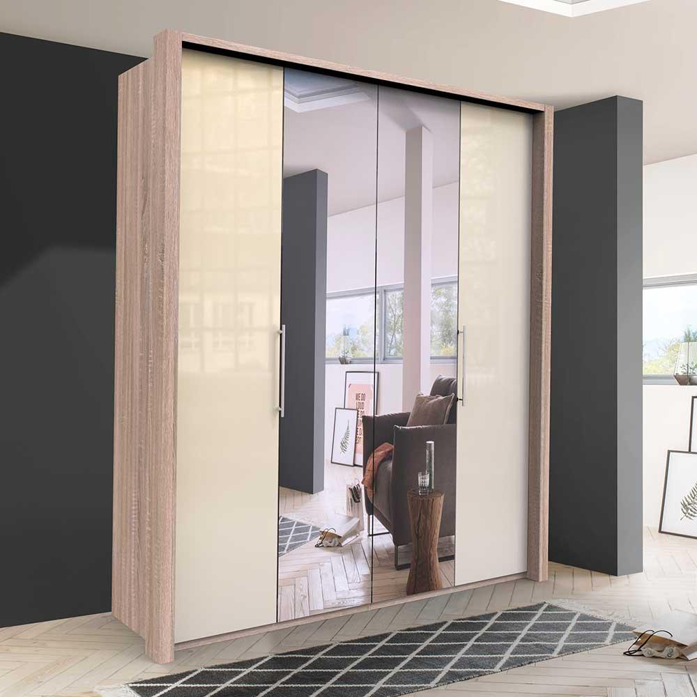 Spiegel Kleiderschrank mit zwei Falttüren Cremefarben Eiche Sägerau