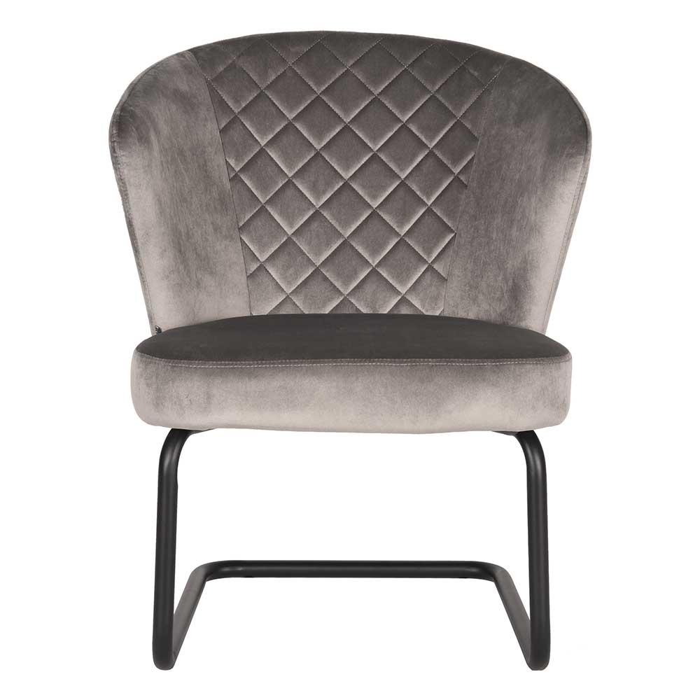 Retro Sessel in Grau Samt Wippfunktion