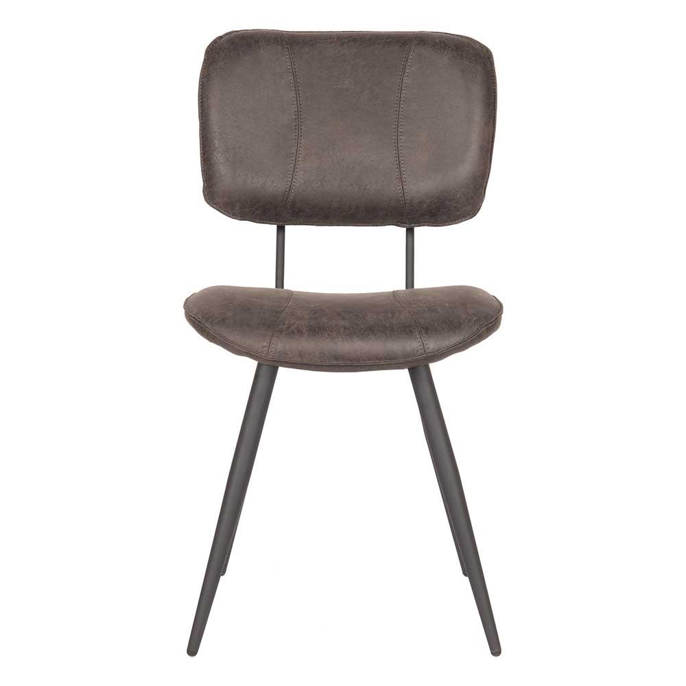 Esstisch Stuhl aus Kunstleder und Metall Anthrazit Schwarz
