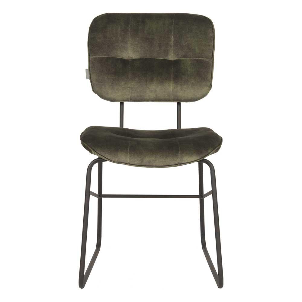 Gepolsterter Esstisch Stuhl in Dunkelgrün und Schwarz Bügelgestell aus Metall