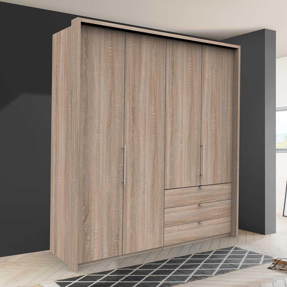 Moderner Kleiderschrank mit Falttüren und drei Schubladen Eiche Sägerau