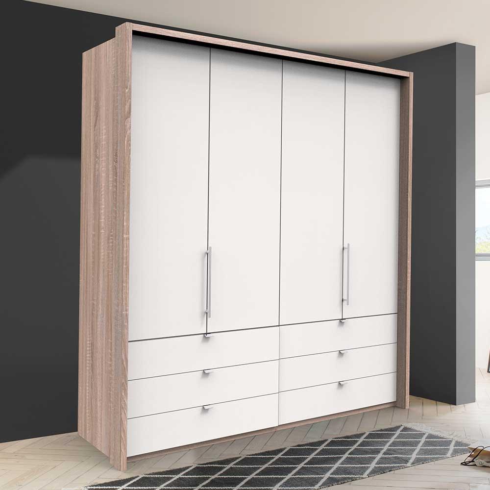 Gleittüren Kleiderschrank mit sechs Schubladen Weiß Eiche Sägerau