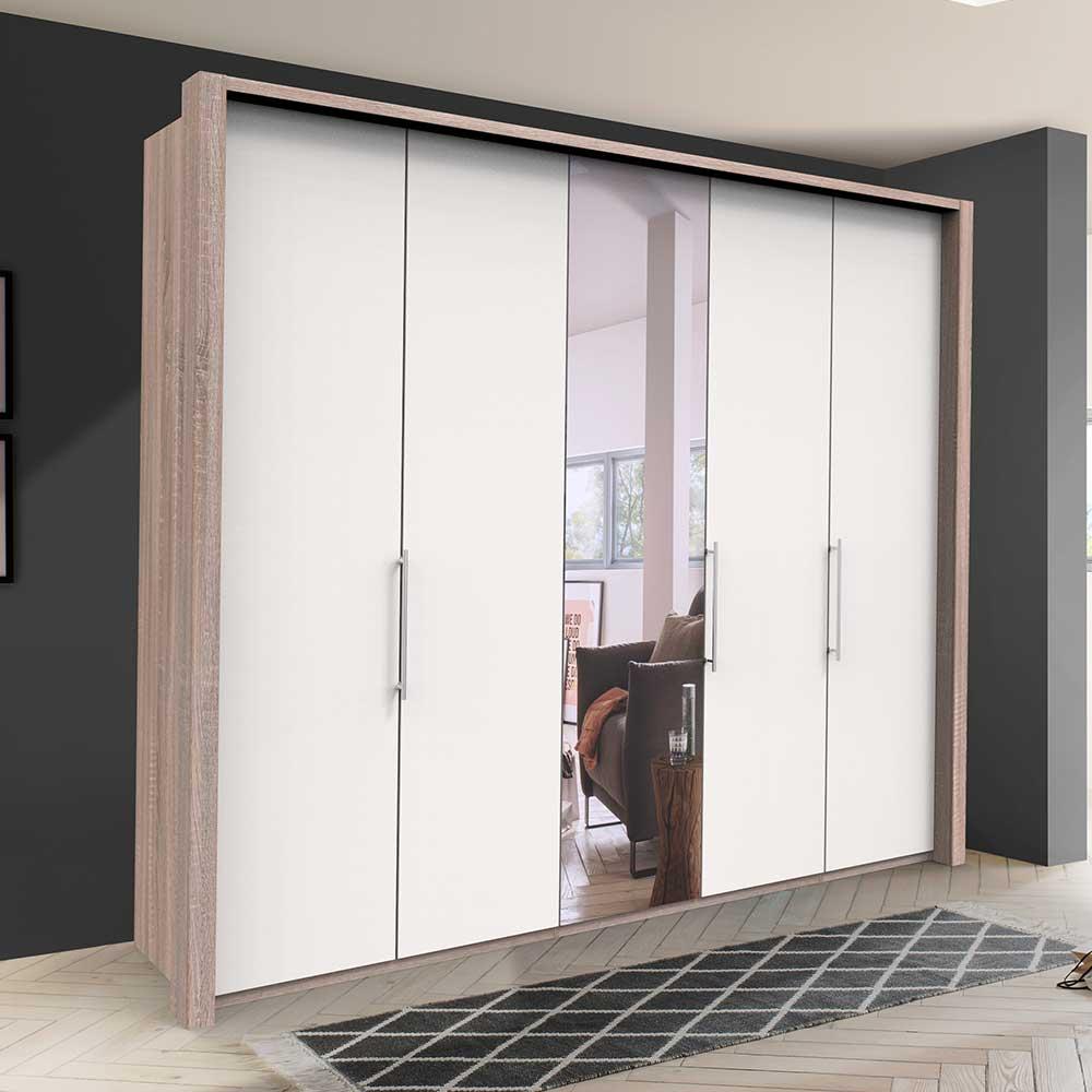 Bicolor Kleiderschrank mit Spiegel Falttüren