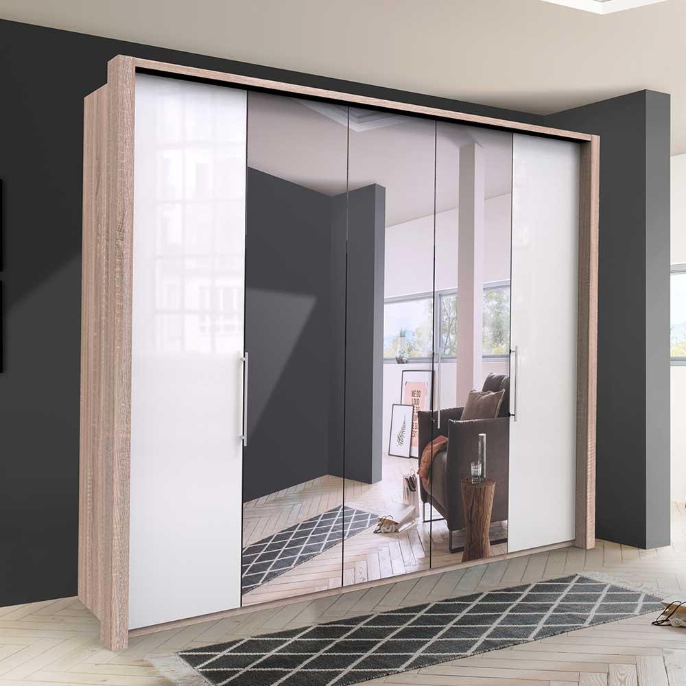 Premium Kleiderschrank mit Spiegel Eiche Sägerau und Weiß