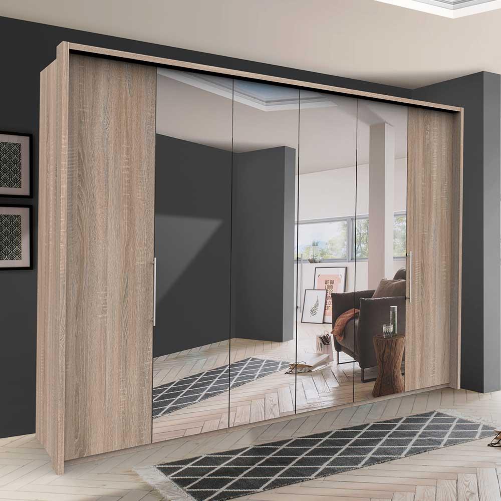 Spiegel Kleiderschrank mit drei Falttüren Eiche Sägerau