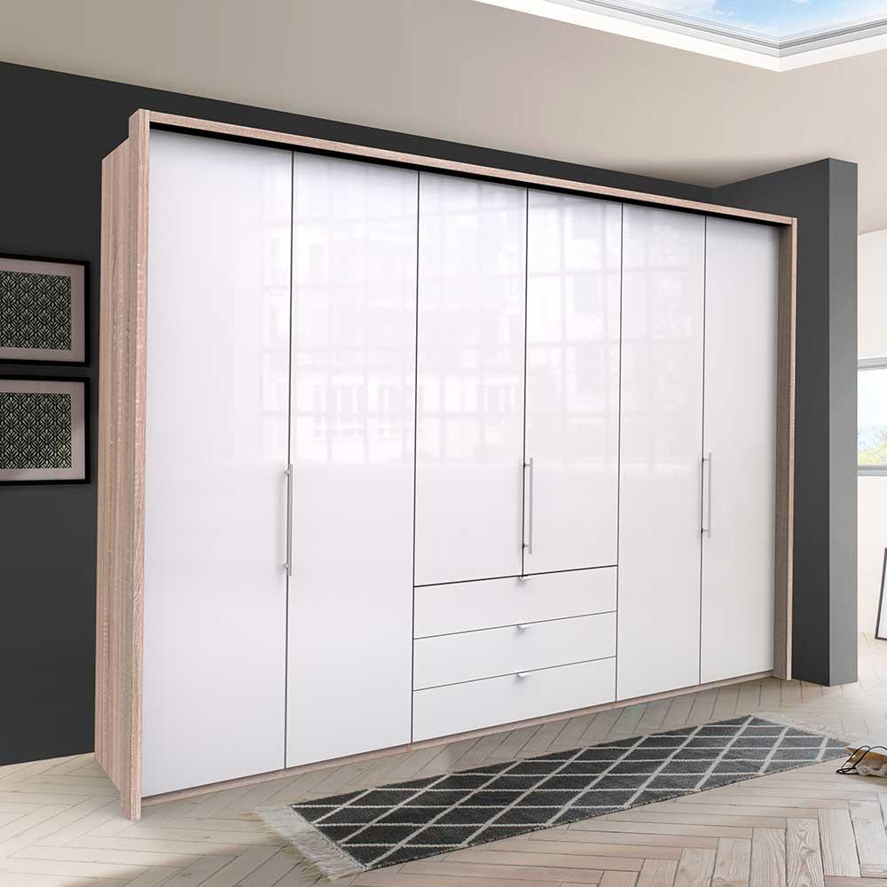 Großer Kleiderschrank mit Falttüren und Schubladen Weiß Eiche Sägerau