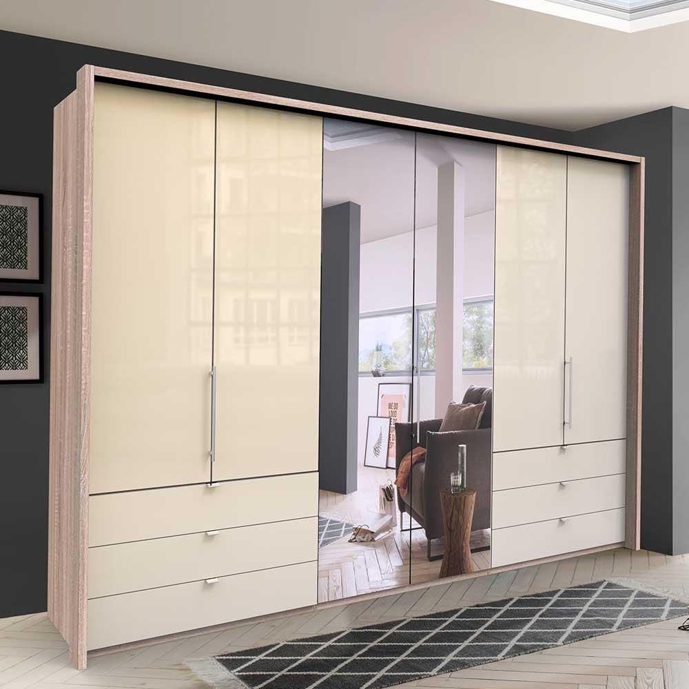 Panorama Kleiderschrank 3 türig Spiegel Schubladen glasbeschichtet