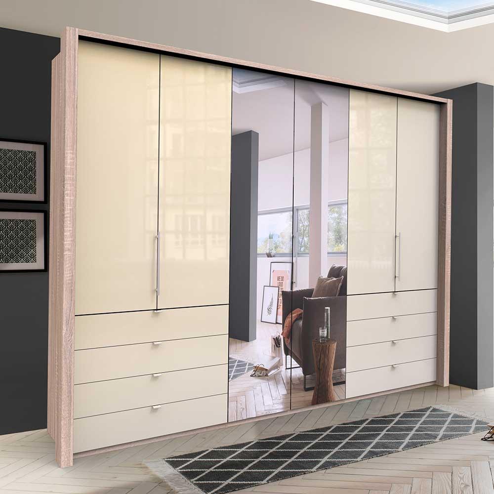 Panorama Kleiderschrank mit drei Falttüren Spiegel und Schubladen glasbeschichtet