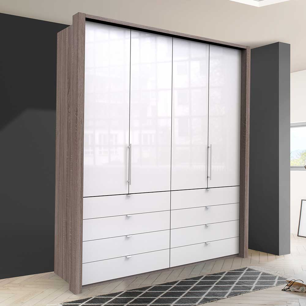 Glasbeschichteter Jugend Kleiderschrank mit Falttüren acht Schubladen