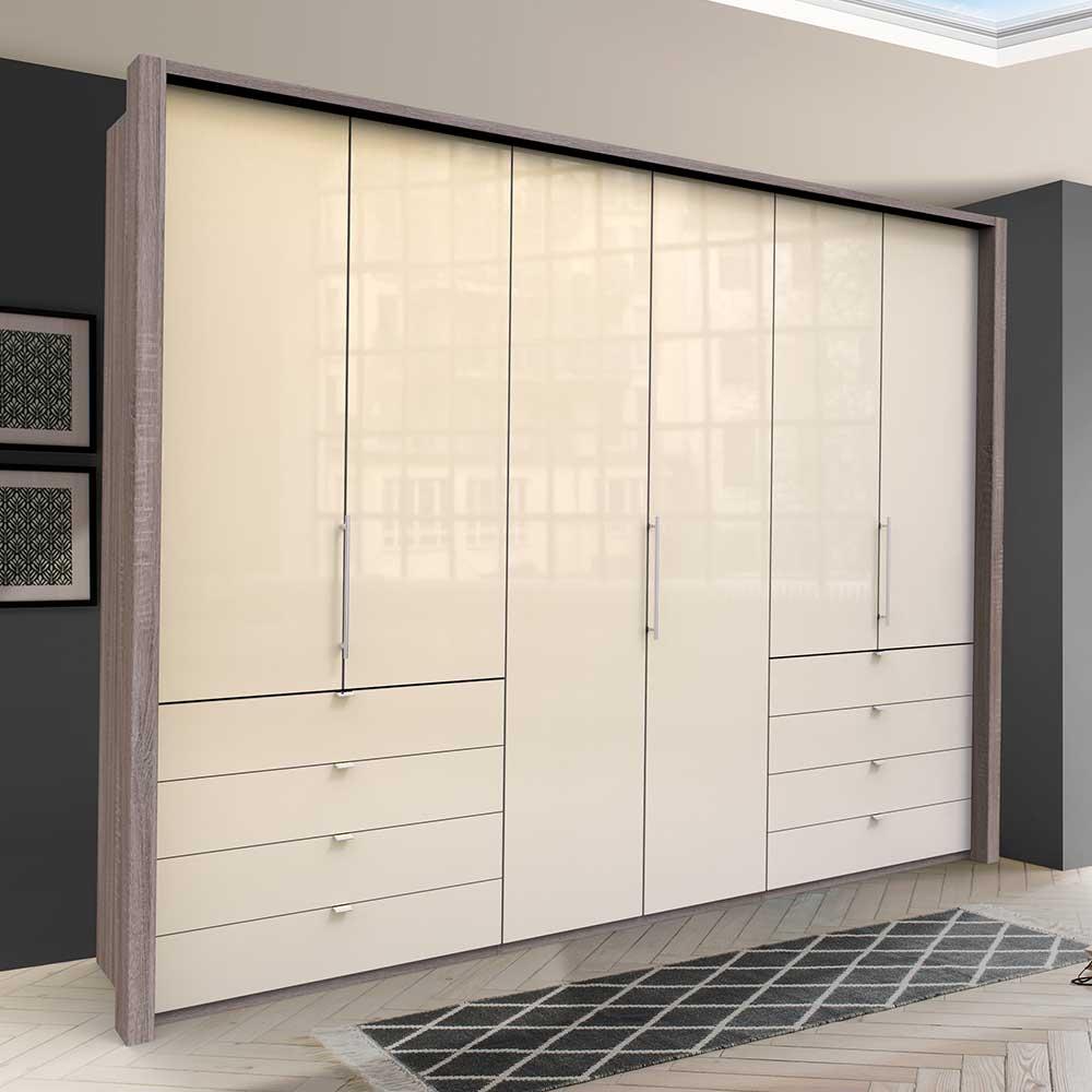 Panorama Kleiderschrank mit acht Schubladen 3 türig