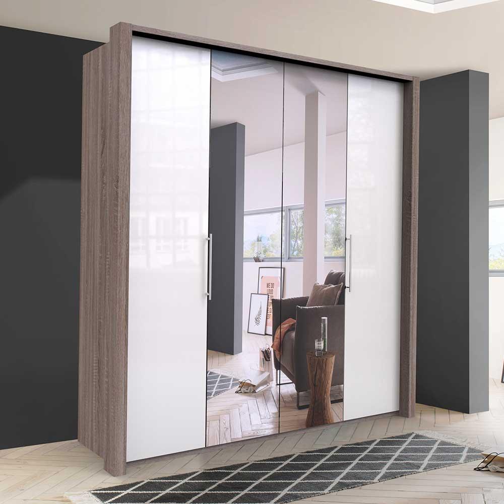 Kleiderschrank mit Falttüren und Spiegel zweifarbig