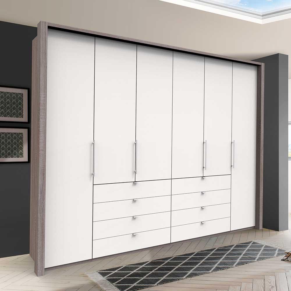 XL Kleiderschrank in Weiß und Eiche Trüffelfarben Falttüren