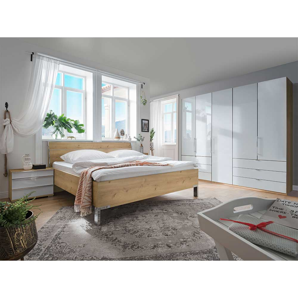 Komplettschlafzimmer in Eiche Bianco und Weiß mit Glas beschichtet (vierteilig)