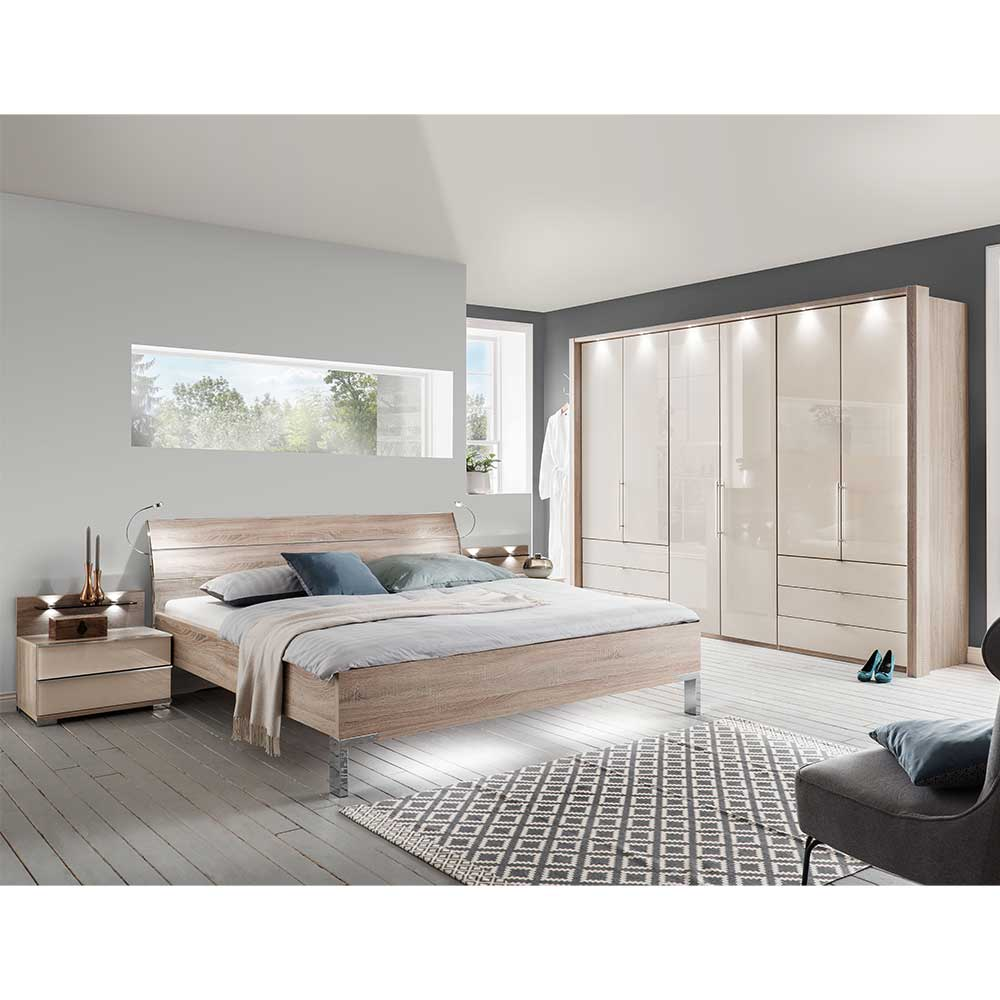 Schlafzimmerset in Cremeweiß und Eiche Sägerau glasbeschichtet (vierteilig)