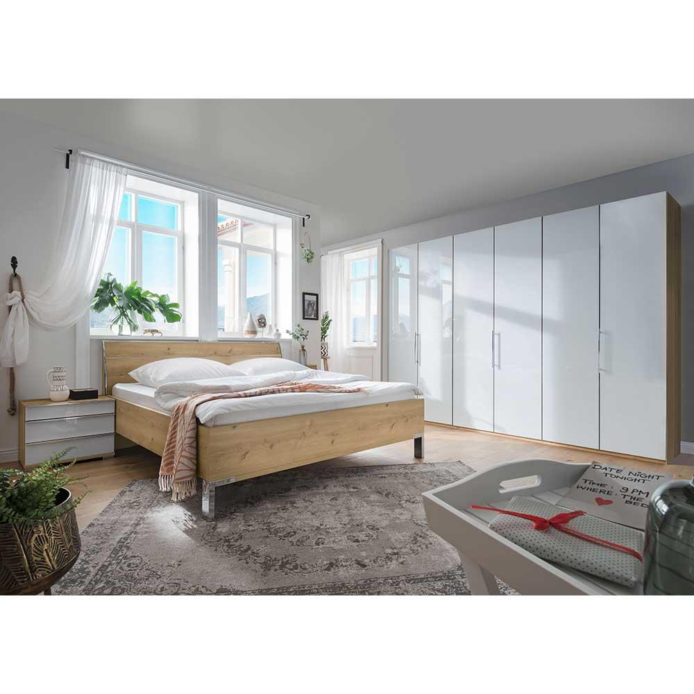 Premium Komplettschlafzimmer in Weiß Eiche Bianco (vierteilig)