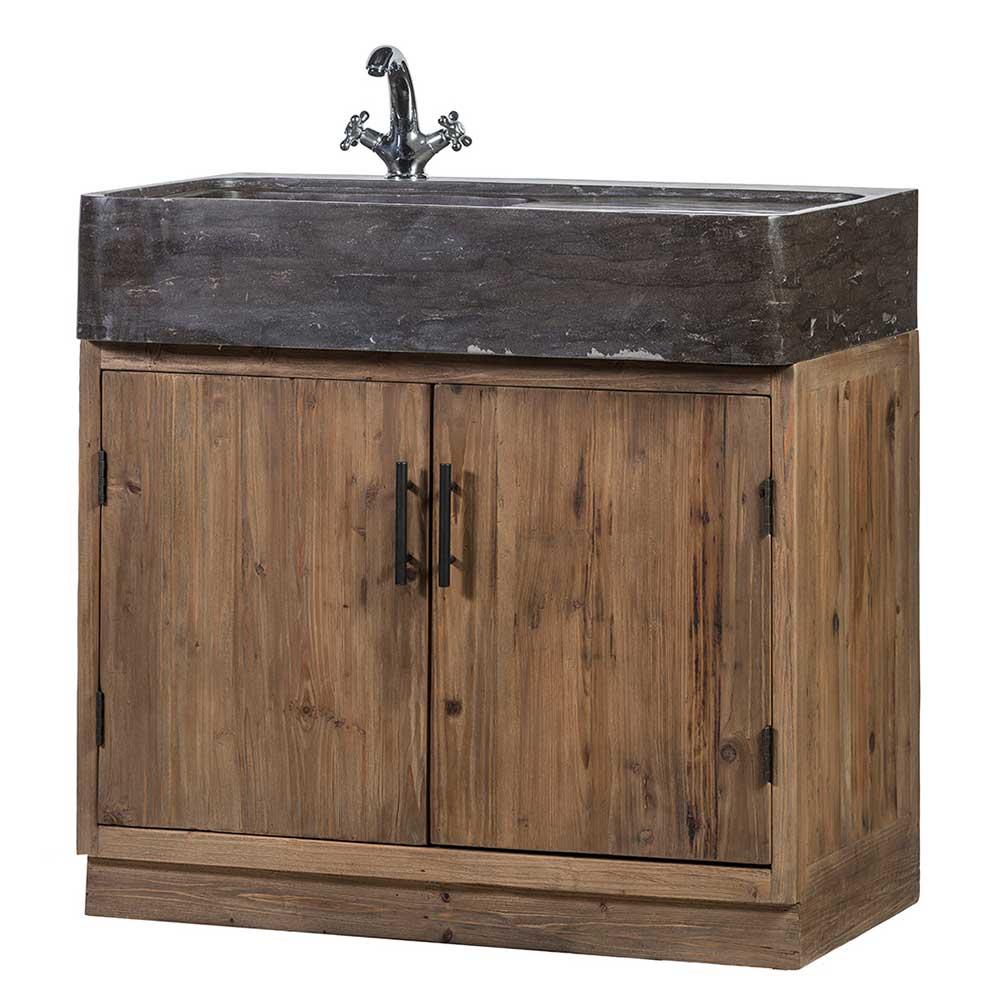 Küchenschrank aus Stein und Massivholz inklusive Aufsatzwaschbecken
