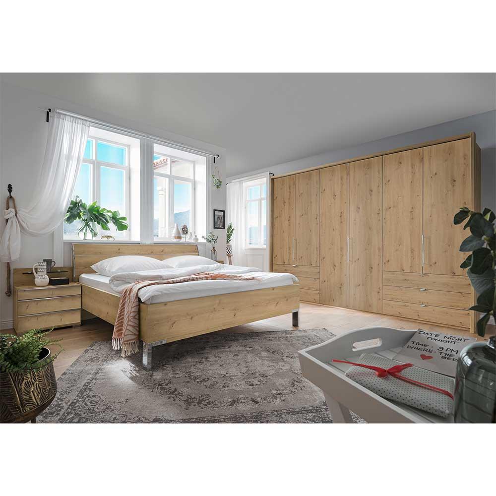 Komplettschlafzimmer in Eiche Bianco Holzoptik modernem Design (vierteilig)