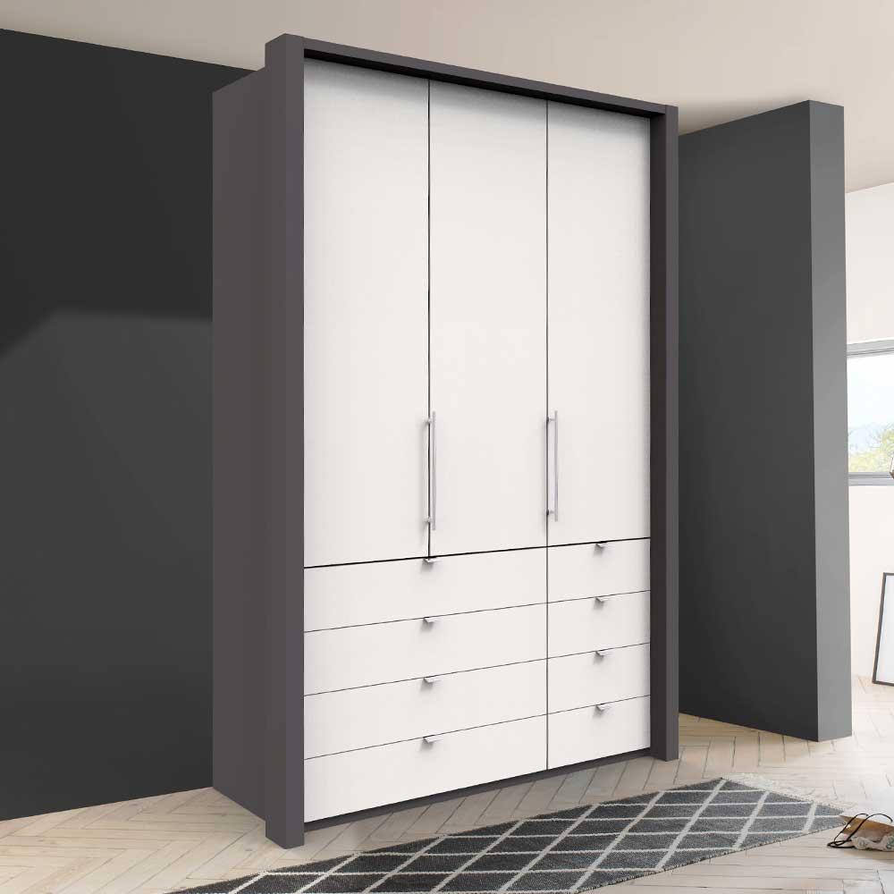 Falttüren Kleiderschrank in Weiß und Braun acht Schubladen