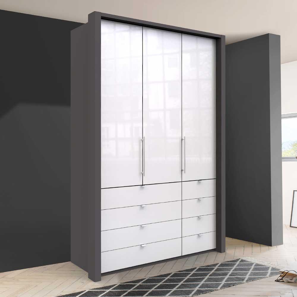 Gleittüren Kleiderschrank in Weiß und Braun glasbeschichtet