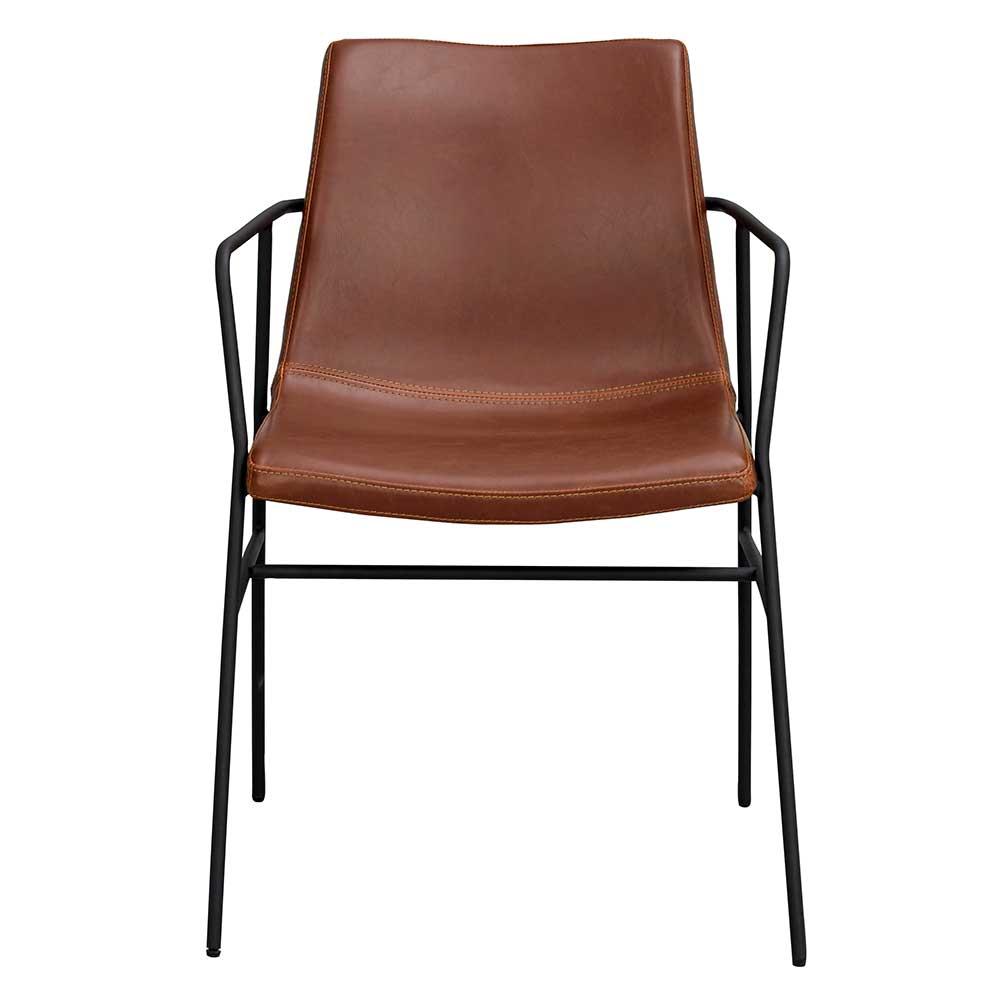 Esstisch Stühle in Braun Kunstleder Metall Armlehnen (2er Set)