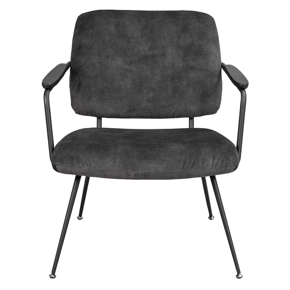 Lounge Sessel in Grau Samt Vierfußgestell aus Metall